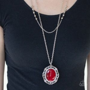 Double Strand Red Necklace Earring Set NWT